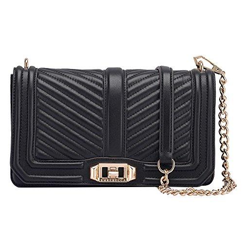 Black Cross Bag Grid Bag Black Fashion Handbags Bags Wenl Genuine Messenger Body Shoulder Chain V Leather Handbag Bags TxwvqO58
