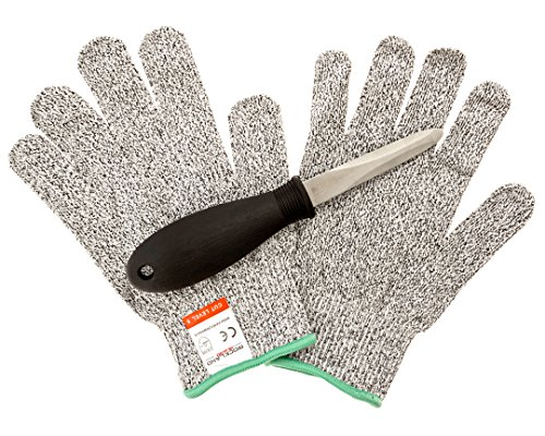 Rockland Guard Oyster Shucking Set- High Performance Level 5 Protection Food Grade Cut Resistant Gloves with 3.5'' Stainless steel Oyster Knife, perfect set for shucking oysters (Medium)