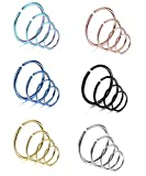 Udalyn 24 Pcs 20G Stainless Steel Nose Ring Cartilage Hoop Piercing For Men Women 6 Mixed Colors