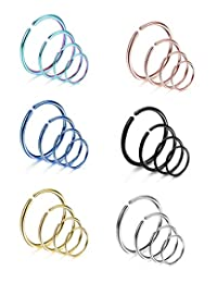 Subiceto 24 Pcs 18G/20G Stainless Steel Nose Ring Cartilage Hoop Piercing for Men Women 6 Mixed Colors