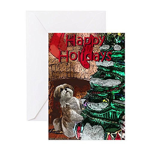 CafePress Shih Tzu Christmas Holiday Greeting Cards Greeting Card, Note Card, Birthday Card, Blank Inside Glossy