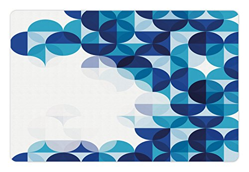 Abstract Pet Mats for Food and Water by Ambesonne, Modern Geometrical Circled Pattern with White Background Artwork, Rectangle Non-Slip Rubber Mat for Dogs and Cats, Dark Blue White and - Geometrical Cat
