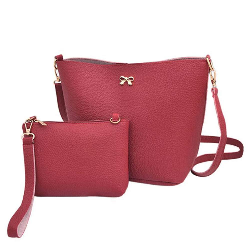 2Pcs Women's Casual Tote Women Handbag Soft Ladies Pu Leather Woman Shoulder Female Bags