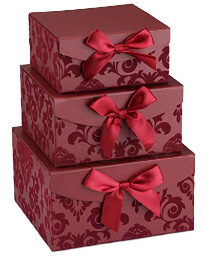 Red Swirl Nesting Elegant Christmas Gift Boxes, Set of 3, With Bows, (Christmas Candy Gift Box)