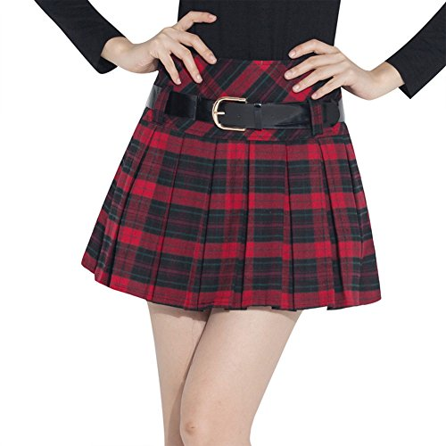 (Tanming Women's A-Line Plaid Skirt Side Zipper (Large, Red))