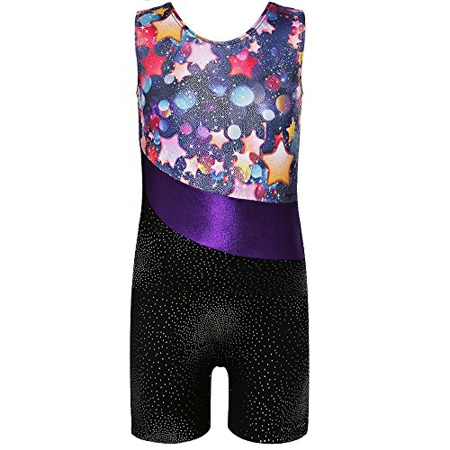 Price comparison product image TFJH One-piece Sparkle Dancing Gymnastics Biketard for Little Girl Stars 110