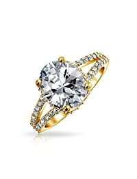 Bling Jewelry Gold Plated 925 Sterling Silver 3ct Oval CZ Engagement Ring