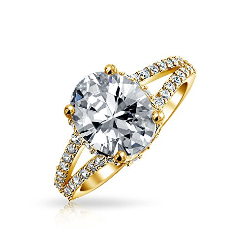 Bling Jewelry Gold Plated 925 Sterling Silver 3ct Oval CZ Engagement Ring size 6