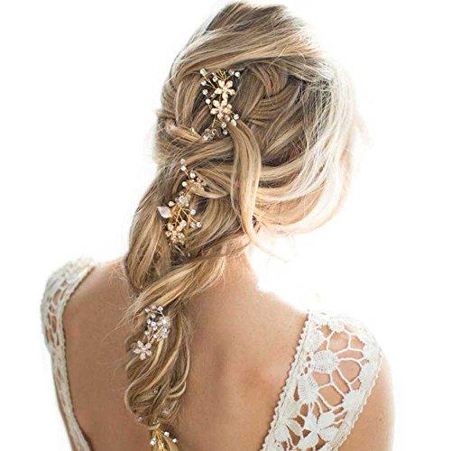 Missgace Bridal Crystal Wedding Headband -Long Bridal Hair Vine