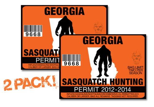 Georgia-SASQUATCH HUNTING PERMIT LICENSE TAG DECAL TRUCK POLARIS RZR JEEP WRANGLER STICKER 2-PACK!-GA