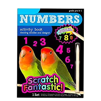 Numbers and Alphabet Scratch Art Book Set for Kids Toddlers -- 2 Deluxe Reveal Scratch Books for Toddlers for Early Learning with Over 400 Stickers (Travel Activities Pack): Toys & Games