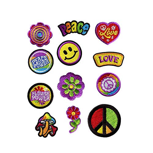 GODEAGLE 12 PCS Colorful Hippie Peace Sign Muchoom Peace Power Flower Power Love Hearted Smile Face Embroidered Patch Appliqued Iron-on/Sew-on Embroidery Patch for your Jacket Jeans Scoult Pacthes ()