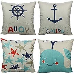 All Smiles Cartoon Nautical Throw Pillow Covers Case Decorative Ocean Park Theme Sea Decor Cushion 18X18 Set of 4,Voyage Navigation Decorations Anchor Sailor Starfish Fish