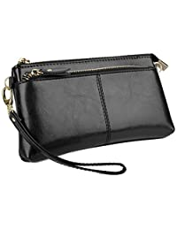 Yaluxe Women's Large Capacity Genuine Leather Smartphone Wallet with Shoulder Strap Black