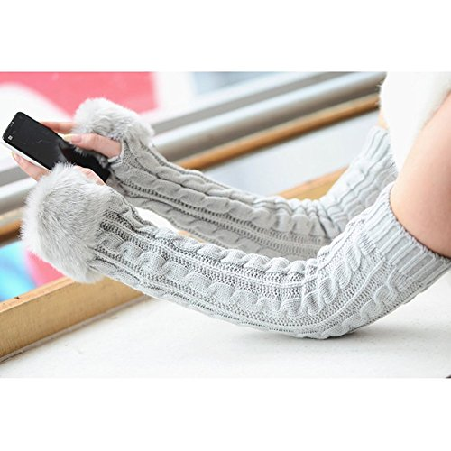 All-match Knit Women Gloves Stretchy Half-finger Arm Warmer Gloves for Girls, Ladies, Christmas Gifts, Etc. (light grey long)