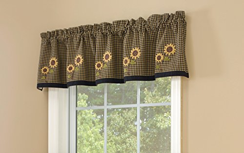 (Park Designs Sunflower Check Lined Valance, 60 x 14)