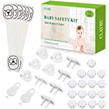 CLAYHU Child Proofing Kit - 6 Child Proof Cabinet Safety Locks, 10 Outlet Plug Covers with 2 Keys, 16 Clear Corner Guards, Baby Proof Set 34 Piece