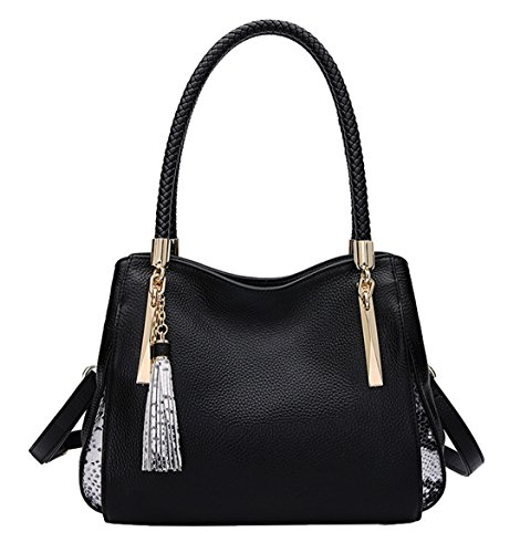 de Cuero hombro Nueva bolsos La SAIERLONG Primera y Shoppers Negro De Negro Capa Mujer PAnwxUwqp