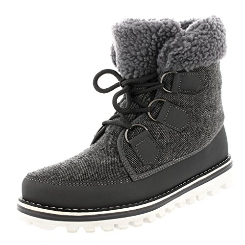 Polar Produkte Damen Wasserdichte Durable Schnee Winter Wandern Fleece Stiefeletten Graues Nylon