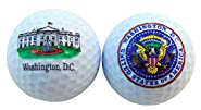 White House and United States Presidential Seal Souvenir Golf Ball Set of 2 Boxed