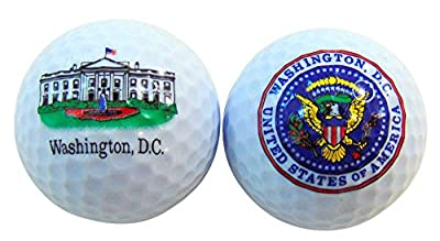 White House and Presidential Seal Washington DC Souvenir Golf Ball Set of 2 Boxed