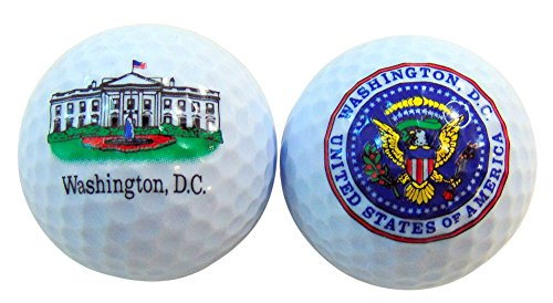 - White House and Presidential Seal Washington DC Souvenir Golf Ball Set of 2 Boxed