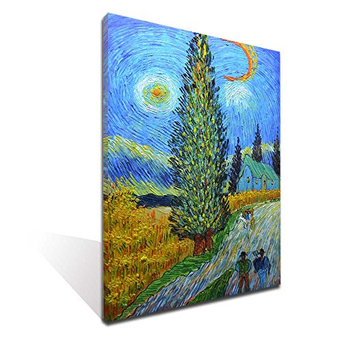Painted 3D) Road with Cypress and Star Van Gogh Classic Arts Reproduction Oil Paintings on Canvas Stretched and Framed Artwork Reday to Hang (24x36inch) (Little Star Canvas Artwork)