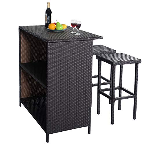 Martini Counter Stool - SRIVILIZE888 Bistro Table Set and 2 Chairs, 3 Piece Patio Set, Brown Bar Stool Rattan Wicker Cocktail Stools Outdoor Furniture Garden Pool Side Modern Style Set of 3