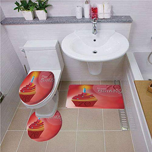 Bath mat set Round-Shaped Toilet Mat Area Rug Toilet Lid Covers 3PCS,70th Birthday Decorations,Abstract Sun Beams Like Backdrop with Party Cupcake Image,Red and Orange ,Bath mat set Round-Shaped Toile
