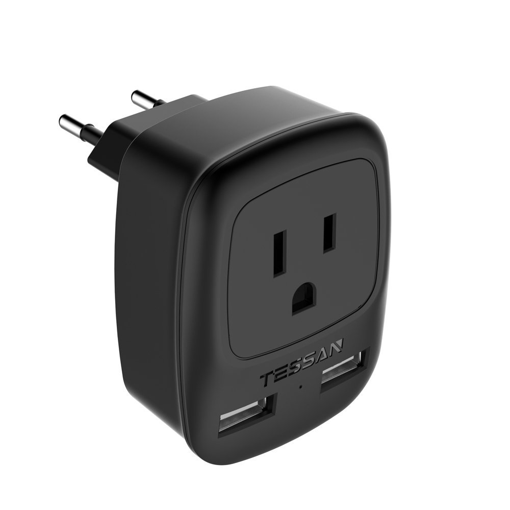 TESSAN USA to Most of Europe Travel Plug Adapter with Dual USB Fast Charging Port (2.4A) - Europlug Type C Prong Adapter (Black)