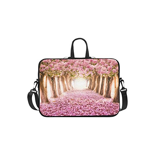 (InterestPrint Cherry Blossom Laptop Sleeve Case Bag, Pink Flower Tree Shoulder Strap Laptop Sleeve Notebook Computer Bag 13.3 Inch for MacBook Pro Air HP Dell )