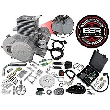 66/80cc BBR Tuning Bullet Train Electric Start Engine Kit - Silver