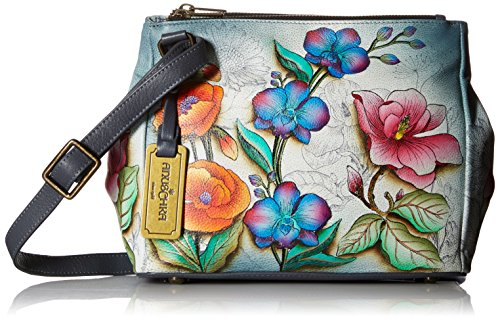 Anuschka Women's Genuine Leather Triple Compartment Convertible Tote | Hand Painted Original Artwork | Floral Fantasy