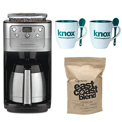 Cuisinart DGB-900BC Grind & Brew Thermal 12-Cup Automatic Coffeemaker Includes Set of Two Mugs with Spoons and Capresso East Coast Blend Whole Bean Coffee (Renewed)