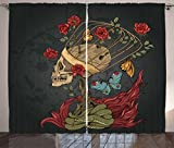Ambesonne Skull Curtains, Evil Mexican Sugar Skeleton with Kitsch Bush of Roses Snake and Butterfly Artwork, Living Room Bedroom Window Drapes 2 Panel Set, 108 W X 63 L Inches, Ruby Dark Grey