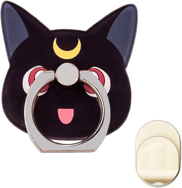 ZOEAST(TM) Phone Ring Grip Sailor Moon Black White Cat Kitty Universal 360° Adjustable Holder Case Stand Stent Mount Kickstand Compatible with iPhones Samsung Galaxy Android Pad Tablet(Black Moon Cat)