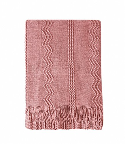 Bourina Textured Solid Soft Sofa Throw Couch Cover Knitted Decorative Blanket, 50 x 60,Coral Pink