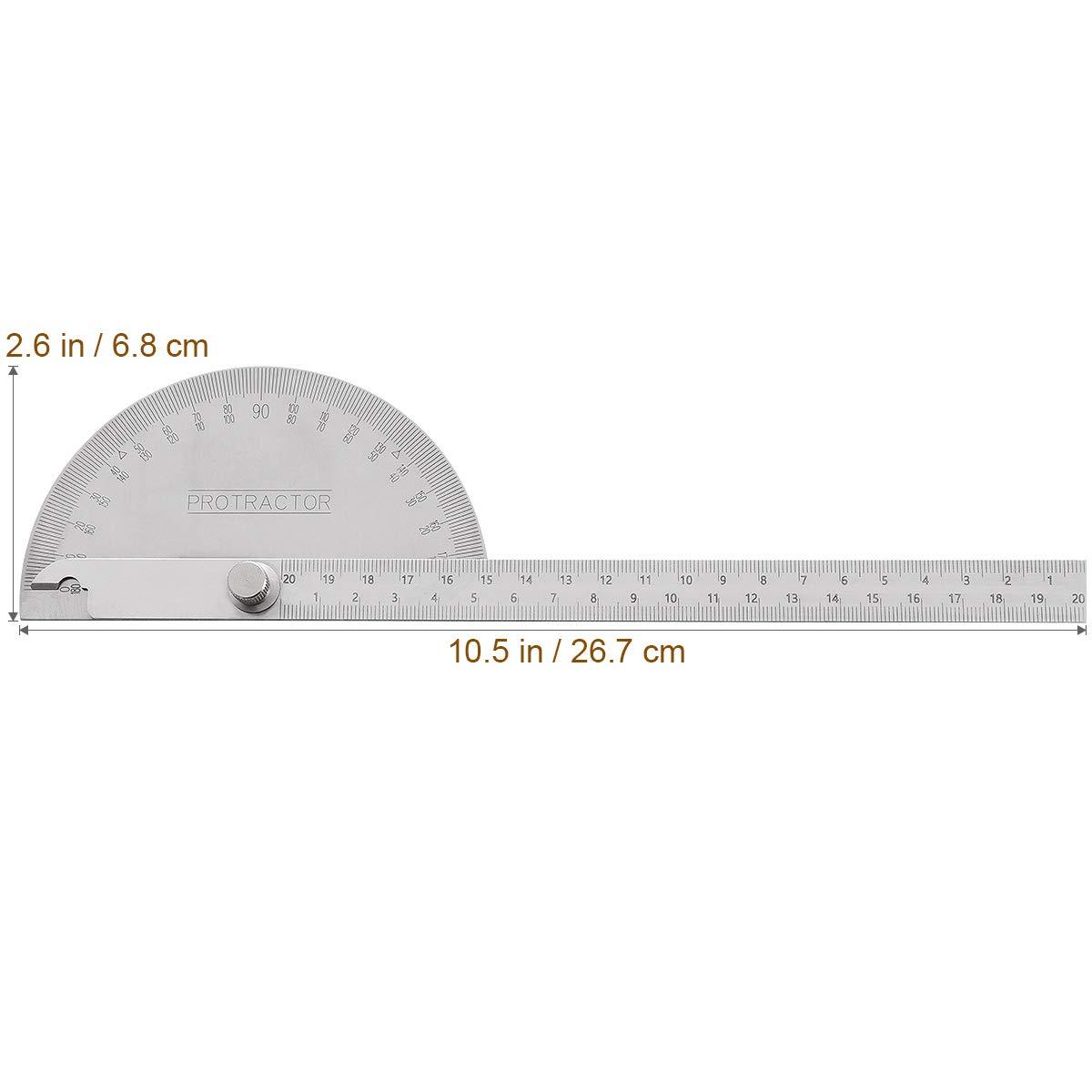 UEETEK 180 Grad Winkelmesser mit Lineal Edelstahl