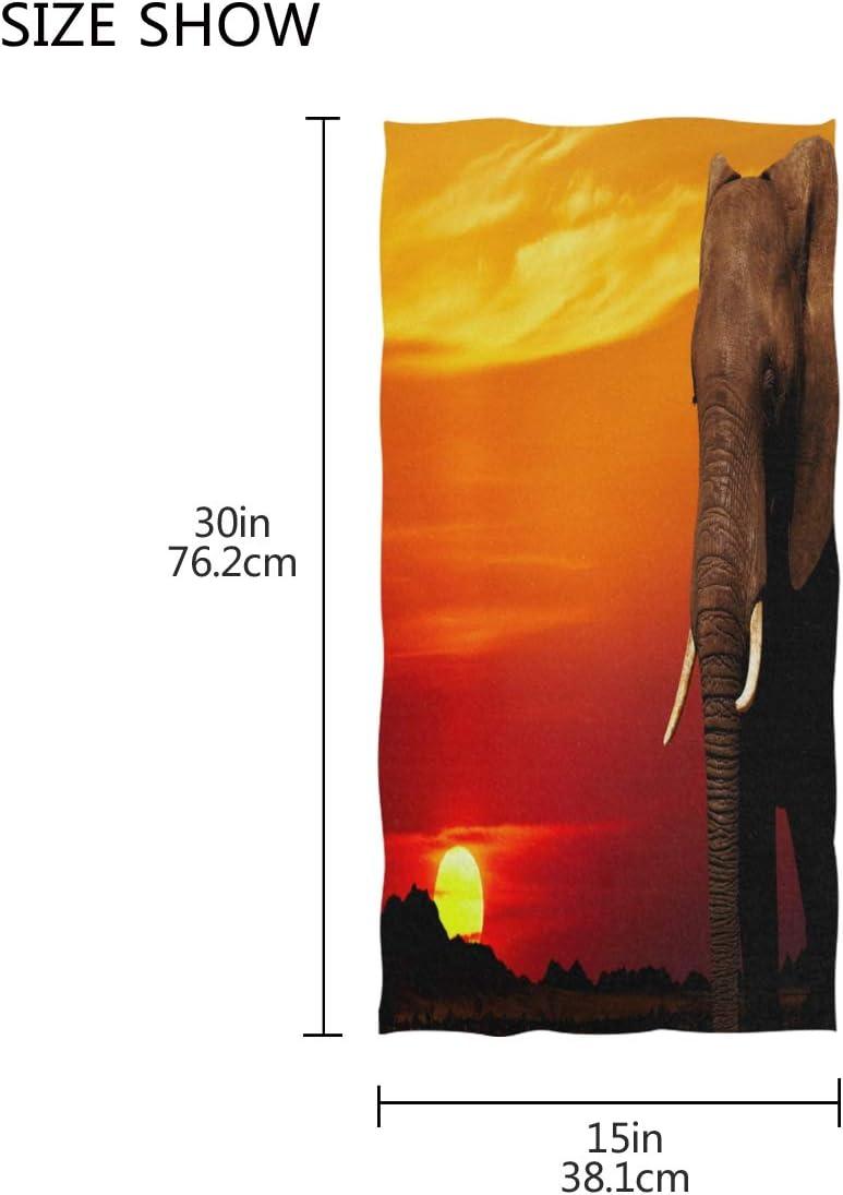 Mnsruu Serviette de Bain Motif /él/éphant Africain 76 x 38 cm