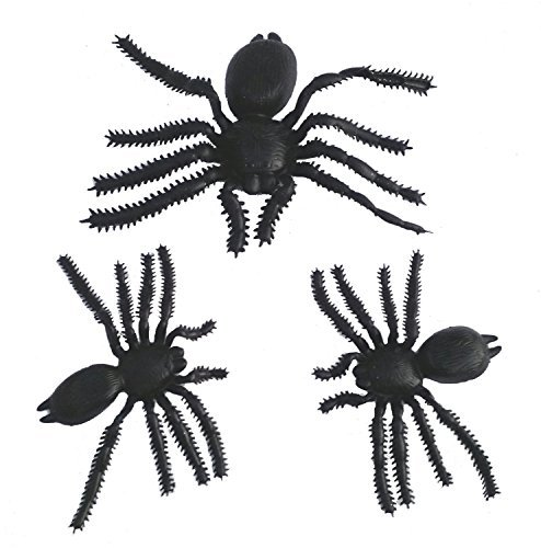Black Halloween Spooky Spiders (Set of 3, Black) (3, 1 Large + 2 Medium) decoration