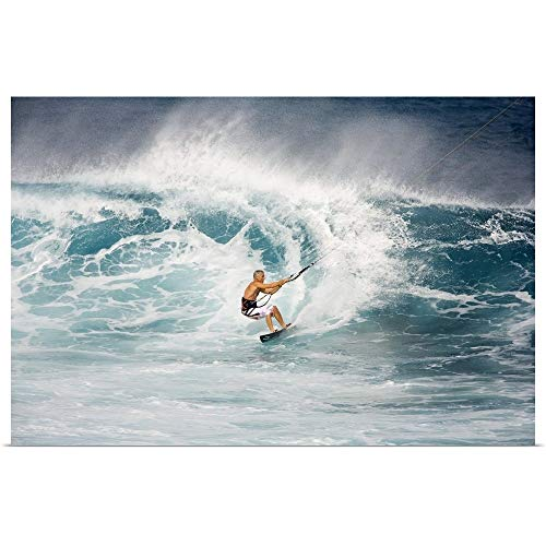 GREATBIGCANVAS Poster Print Entitled Hawaii, Maui, Ho'okipa, Kitesurfer On Wave, Spray and Whitewash by Ron Dahlquist 18