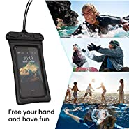 Floating Waterproof Phone Pouch, Cambond 3 Pack Waterproof Phone Case, Transparent PVC Water Proof Cell Phone Pouch Dry Bag with Lanyard for iPhone Xs Max XR X 8 7 6 Plus (White+Black+Blue)
