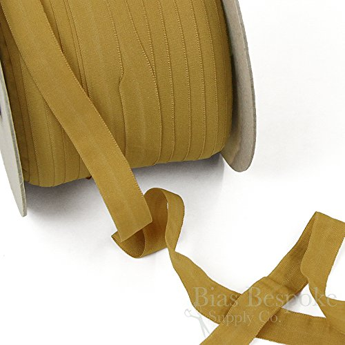 12 Yards of CARA Matte Finish Fold-Over Elastic, Honey Gold, Made in Italy