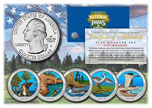 - 2018 America The Beautiful COLORIZED Quarters U.S. Parks 5-Coin Set w/Capsules
