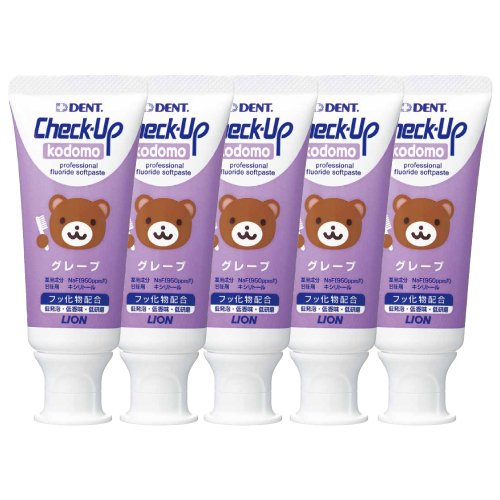 Lion Check-up Kodomo Toothpaste 60g, 5 Tubes Grape (Made in Japan)