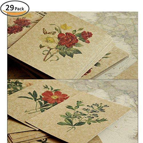 Vintage Postcard Flowers - Rumcnet Plant Illustration Postcard Set Of 29,Vintage Style Hand Painted Flower Kraft Paper Postcard