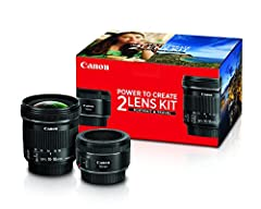 The Canon Portrait & Travel 2 Lens Kit includes the EF 50mm f/1.8 STM and EF-S10-18mm F4.5-5.6 IS STM.A stepping motor (STM) and newly-designed focus mechanism support the Canon EOS Movie Servo AF function to provide smooth and quiet cont...