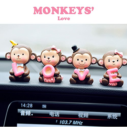 FULL WERK Creative Cute Monkeys Love Dashboard Decorations Car Home Office Ornaments Best Birthday Holiday Gift (Monkeys' (Cute And Creative Costumes)