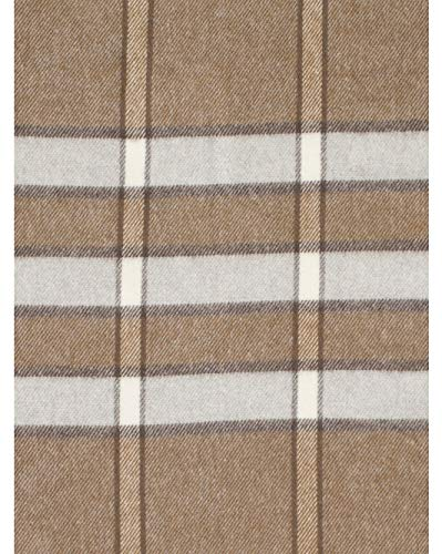 Nido Notte Italia Luxury Fringed Decorative Oversized Throw Blanket Toss Striped Pattern in Shades of Brown Gray Taupe Cream