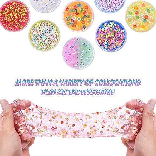 MOOHAM DIY Slime Kit Supplies - Clear Crystal Slime Making Kit for Girls, Floam Slime for Kids, Slime Foam Beads, Glitter , Fruit Slices and Fishbowl Beads Included by M MOOHAM (Image #2)